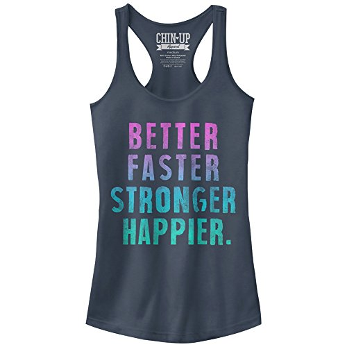 - Chin-Up Junior's Better Faster Stronger Happier Graphic Racerback Tank Top, Indigo, Small