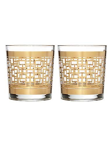 Waterford Mad Men Holloway Gold Patterned DOF, Pair by Waterford