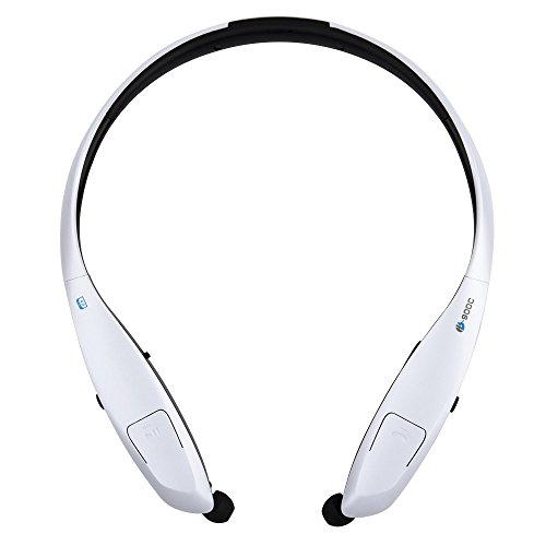 Bluetooth Headphones Pianogic HB-900C V4.0 Music Sport Wireless Neckband Magnetic Stereo Noise Cancelling Sweatproof Bluetooth Headset Retractable Earbuds Call in Vibration Reminder (Black-White)