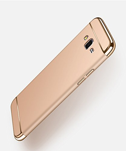 Galaxy J7 Case,J7 2015 Case,DAMONDY 3 In 1 Ultra Thin and Slim Hard Case Coated Non Slip Matte Surface with Electroplate Frame for Samsung Galaxy J7/J700 2015 -gold