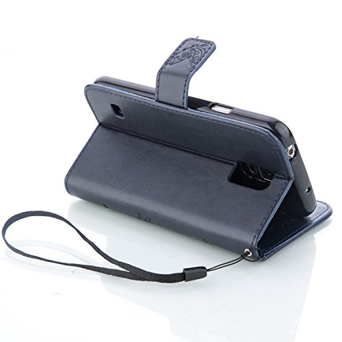 SRY-Funda móvil Samsung Samsung Galaxy S5 Mini funda, caja de la caja de la mariposa en relieve de las flores caso de la caja de la contraportada de la cartera caja de folio retro de color sólido para Blue