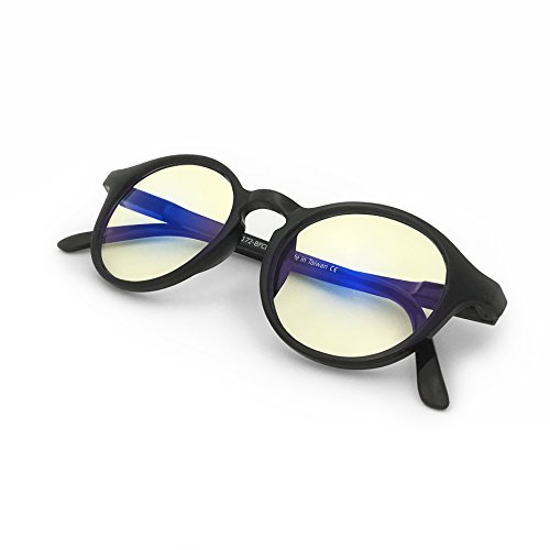 J+S Vision Blue Light Shield Computer Reading/Gaming Glasses - 0.0 Magnification - Anti Blue Light 100% UV Protection - Low Color Distortion Lens, Round Glossy Black Frame