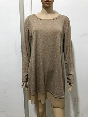 Camisetas Tees Mujer Remata Primavera Tul Mini T Jumpers de Largo Tops Casual Otoño Blusa Túnicas Redondo Cuello Moda y Blouses Vestido Larga Shirt Manga Costura qBwnxrB148