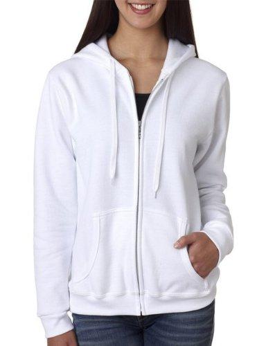 (Gildan Womens Heavy Blend 8 oz. 50/50 Full-Zip Hood(G186FL)-White-M)