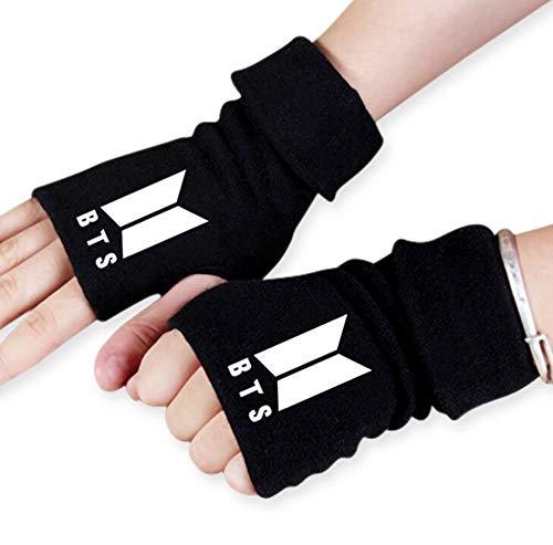 ReNice 1 Paar BTS Stricken Handschuhe Fingerlose mit 1 3D Aufkleber 2 BTS Lomo Karte für A.R.M.Y