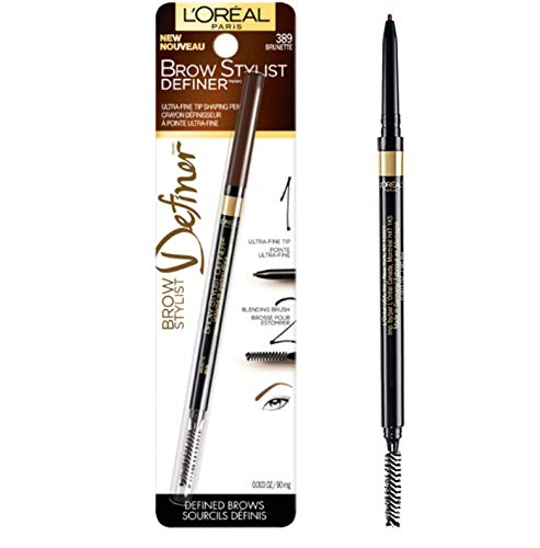 (L'Oréal Paris Makeup Brow Stylist Definer Waterproof Eyebrow Pencil, Ultra-Fine Mechanical Pencil, Draws Tiny Brow Hairs & Fills in Sparse Areas & Gaps, Brunette, 0.003 oz.)