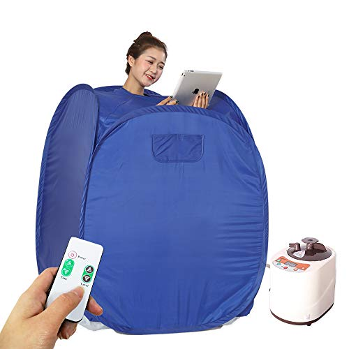 Smartmak Portable Steam Home Sauna Upgrade 2L Steamer, Lightweight Tent, One Person Full Body Spa for Weight Loss Detox Therapy (US Plug) -Blue