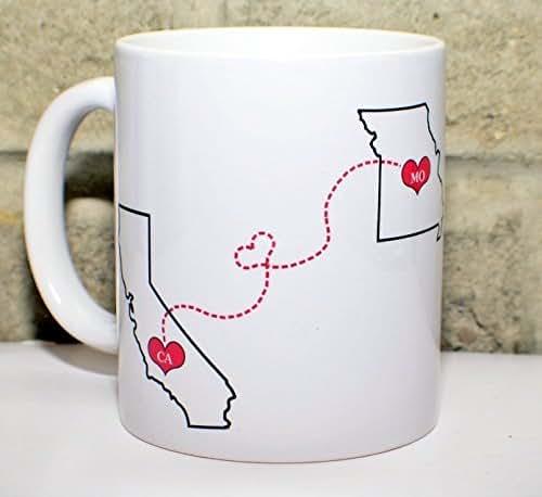 Long Distance Coffee Mug - States Mug - BFF Coffee Mug - Custom State Coffee Mug - Best Friends Mug - Personalized with Your Custom Quote, All States, Countries Available - 11 oz or 15 oz ONE MUG