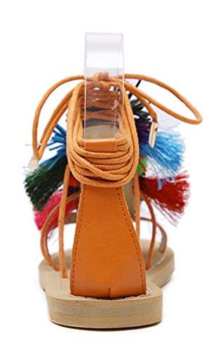 Aisun Damen Flach Bunte Quaste Lace Up Peep Toe Schnürung Flats Römersandalen Orange
