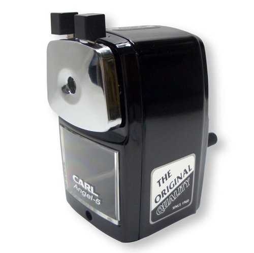 Classic Manual Pencil Sharpener. BLACK. Heavy Duty but Quiet for Office and Home Desks, School Classroom. Carl A-5 (Manual Pencil Sharpener)