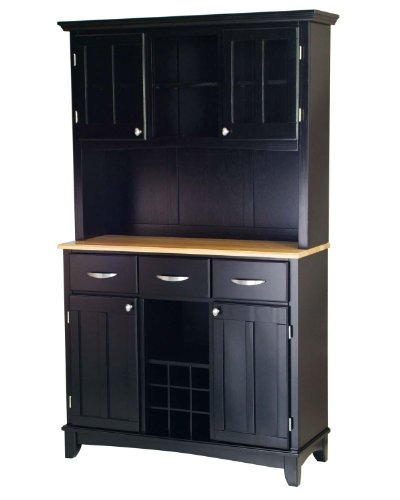 Home Styles Large Black Wood Buffet with Natural Wood Top and 2-Glass Door Hutch