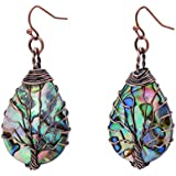 Tree of Life Hand Wrapped Sea Abalone Shell Earrings for Women