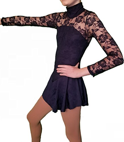 Homester Girls Ice Figure Skating Dress Long Sleeved Lace Style (Navy Blue, 14)