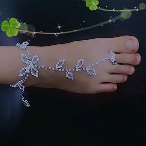 usongs Fashionable flower leaf diamond Foot Chain anklet ankle chain with toe rings cool tic charming young lady