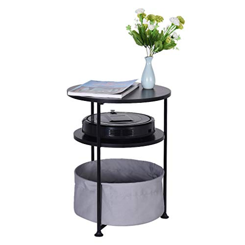 Flurries 2-Tier/3-Tier Round Wood Side Table with Fabric Storage - Modern Nightstand Bedside - Side End Coffee Table for Living Room Bedroom Balcony Family and Office, Black 2/3 Layer (3-Tier, Black) ()