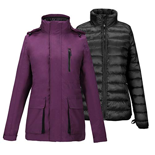 SNOWDOWN Women's 3 in 1 Waterproof Ski Jacket Windproof Winter Snow Coat Warm Snowboarding Jackets