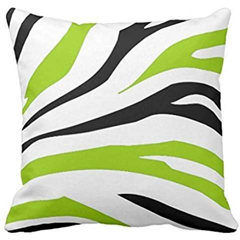 Black and Lime Green Zebra Stripes Print pillow case 1616
