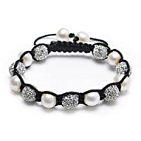 Bling Jewelry Cultured Pearl Crystal Shamballa Inspired Bracelet Alloy
