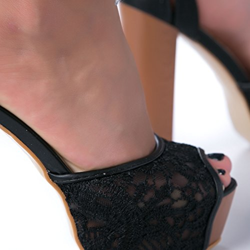 donna Nero tacco MFORSHOP pizzo XY1505P cinturino sandali legno scarpe alto spuntate SHHwvq5