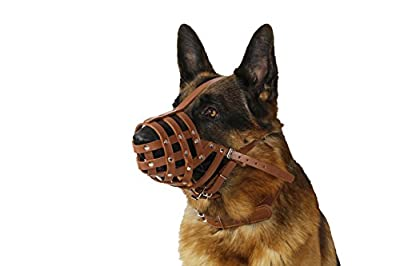 Dog Muzzle German Shepherd Dalmatian Doberman Setter Leather Basket Medium Large Breeds Black Brown