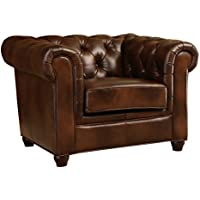Abbyson Foyer Premium Italian Leather Armchair
