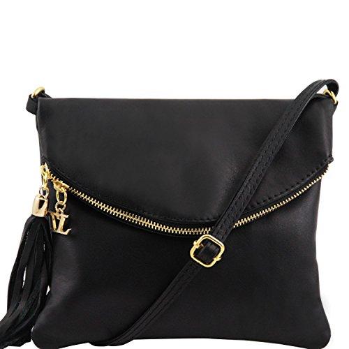 Tuscany Leather TL Young Bag Bolso con bandolera y borla Marrón Bolsos de asa larga Negro