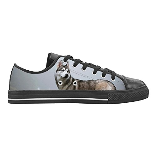 Casual in Leather da Action Custom Husky Aquila Top Sneakers Lace Scarpe CHEESE Gomma Animali Donna Selvatici Design Up Low Nera YvBFnw7q