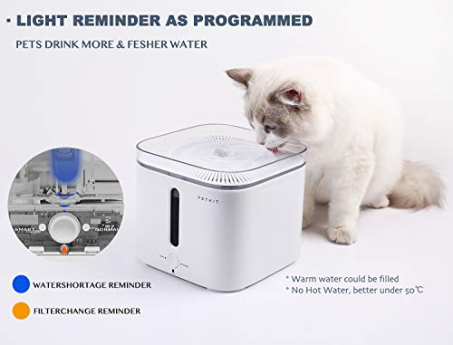 PETKIT EVERSWEET Cat Water Fountain 2.0, 2L Automatic Pet Water Fountain for Dog and Cat Super Quiet with Water-Shortage Alert and Filter-Change Reminder, Auto Power-Off Pet Water Dispenser by PETKIT (Image #4)