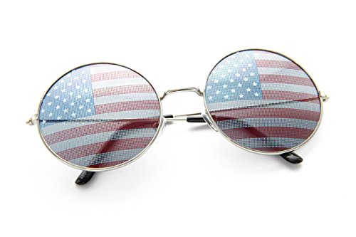 Robot Costumes Usa (Large Circle Round Glasses Metal Frame Harry Porter Style, 57mm (Silver/USA Flag, 57mm))