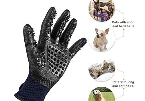 SXYH Nylon Rubber Pet Hair Grooming Glove, Pet Hair Removal Gentle De-Shedding Brush Massage Tool with Five Finger Comb Glove. Cleaning, Bathing Shedding Tool for Long and Short Horse, Dog, cat[Black (Brush Massage Horse)
