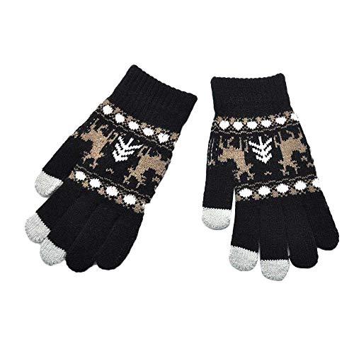 URIBAKE ❤ Unisex Adult Gloves Christmas Elk Woven