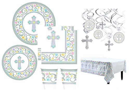 Inspirational Religious Party Supplies And Decorations For Baptism Confirmation Holy Communion Dedication Themed Plates Napkins Cups Hanging Swirls Table -