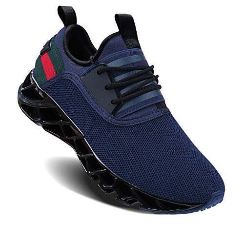 UMYOGO Running Shoes Men Breathable Fashion Casual Stylish Sneakers Athletic Springblade Walking Big Size Shoes Blue (Best Stylish Running Shoes)