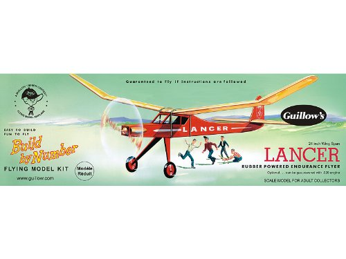 Guillow's Lancer Rubber Powered Endurance Flyer Model - Band Powered Rubber Airplanes