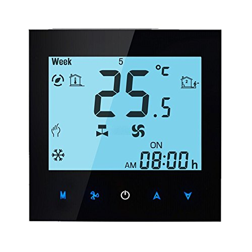 BECA 95~240VAC Two Pipe Heating/Cooling LCD Digital Touch Screen 5+2 Weekly Programmable Fan Coil/FCU/Fan Coil Unit/Central Air Conditioning/HVAC Room Thermostat NOT FOR HEAT PUMP(Black)