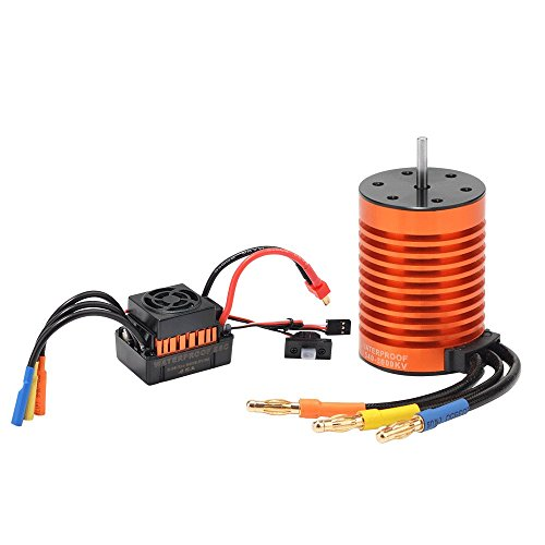 Jrelecs Upgrade Waterproof F540 3000KV Brushless Motor with 45A ESC Combo Set for 1/10 RC Car Truck