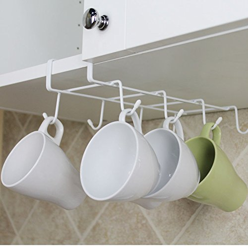 Mkono Under Cabinet Mug Cup Holder Drying Rack Kitchen Hanging Organizer White 8 Hook