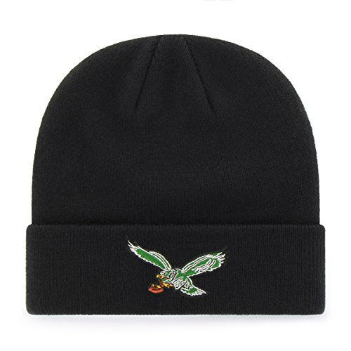 Accessories American Football (OTS NFL Philadelphia Eagles Legacy Raised Cuff Knit Cap, One Size, Black)