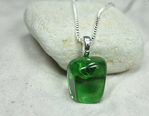 Custom Green Obsidian Stone Pendant and Necklace - Choose Sterling Silver Chain or Leather Cord - Quantity of 1