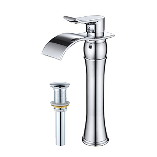 Wovier Chrome Waterfall Bathroom Sink Faucet Drain,Single Handle Single Hole Vessel Lavatory Faucet,Basin Mixer Tap Tall - Tall Mixer Basin