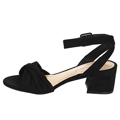 Breckelles Women Twisted Band Grosso Sandalo Con Tacco - Elegante, Formale, Versatile - Cinturino Alla Caviglia - Gg66 By Black