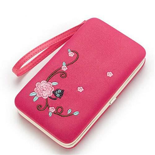 Fashion Women Lady PU Leather Clutch Wallet Long Card Holder Purse Handbag (Color - Rose Red)