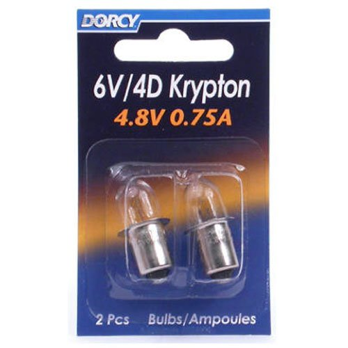 Dorcy 6-Volt/4D-4.8-Volt, 0.75A Miniature Flange Base Krypton Replacement Bulb, 2-Pack (41-1663) (Flange Base Miniature Light Bulb)