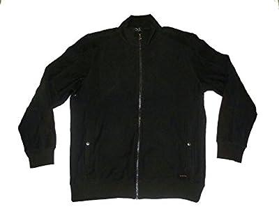 Calvin Klein Mens XL Long Sleeve Full Zip Pique Knit Sweater Jacket Black