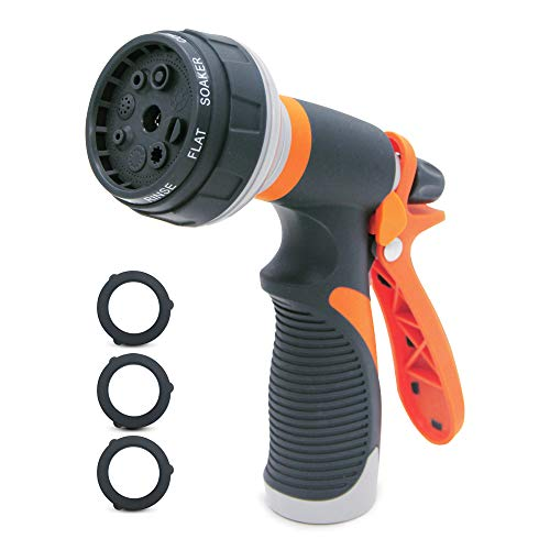 GLOUE Water Spray Gun with 8 Spray Patterns. Durable ABS, PP, TPR Alloy Construction. Attractive Orange and Black 6.5×7.5 Inches