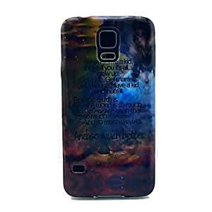 PEACH- Shining Space with Small Letter Pattern TPU Soft Case Cover for Samsung Galaxy S5 I9600