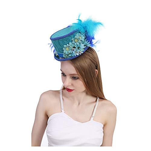 Fashion Hats, Caps, Elegant Hats, Natural Caps Kentucky Derby Mini Top Hat Royal Blue Butterfly Hat Horse Race hat Butterfly Hat Blue Tea Party hat (Color : Blue, Size : 25-30cm) ()