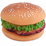 SunLife Dog Supplies Food Toy Dogs Puppy Cat Animal Chews Squeaky Sound Toys Plastic Rubber Voice Sound Hamburger Toy for Dogs Pet