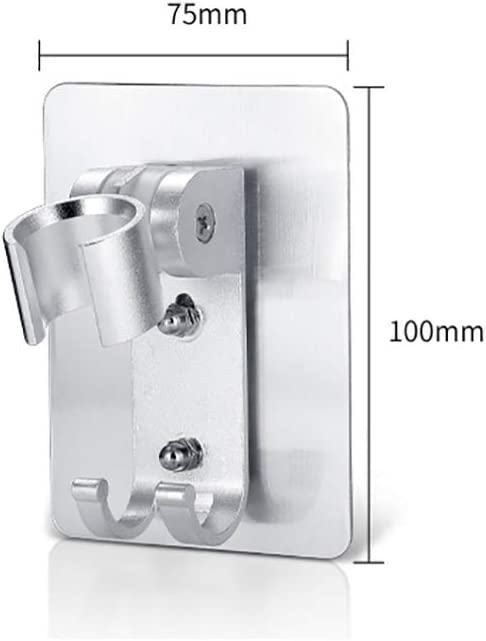 Aluminum Heavy Duty Shower Wand Holder for Bathroom No Drill Need Better than Suction Cups Konesky Adjustable Shower Head Holder Adhesive Wall Mount Bracket with 2 Hanger Hooks
