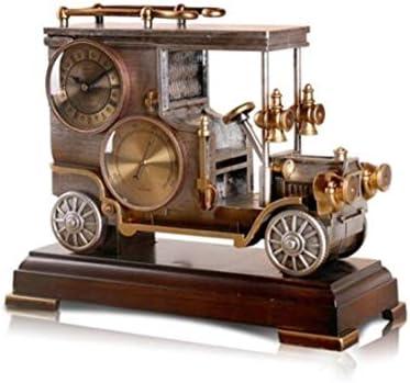 KUQIQI ヨーロッパのレトロな装飾時計、リビングルームのオフィスの装飾、秒のクォーツ時計、クリエイティブクラシックカー振り子時計 (Color : Natural)